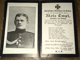 Sterbebild Wk1 Bidprentje Avis Décès Deathcard LIR12 HOHROD Block 3 Grab 167 Aus Erding - 1914-18