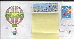 Lettre Avec Facsimilé   Montimbramoi   Imprimé  Avec  Une  Montgolfière  ( Voir Les  Scans Recto Verso ) - Tarjetas Cartas