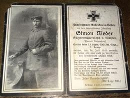 Sterbebild Wk1 Bidprentje Avis Décès Deathcard RIR13 Juli 1915 Vermisst Aus Mühlen - 1914-18