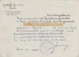 1952: GESTICHT GUISLAIN, GENT: Getuigschrift Van Verpleging Van Dhr. ... (Uit Respect Voor De Betrokkene En Zijn ... - Faire-part