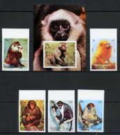 Sharjah - 2044a/ N° 1012/1016 B + BLOC 117 Singe Singes Monkeys Apes Non Dentelé ** (imperforate) ** MNH - Schardscha