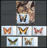 Sharjah - 2045a/ N° 1018/1022 B + Bloc 118 Non Dentelé ** (imperforate) Papillons (butterflies) ** MNH - Schardscha