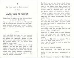Doodsprentje Van Marc VAN DE WEERD- ° EKEREN 1956- Verongelukt Tijdens Militaire Dienst In Duitsland- 1978 (22 J) - Religion & Esotérisme