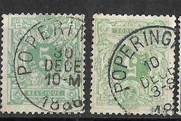 9W-574:N°45:E9:POPERINGHE: 2 Verschillende Stempels... - 1869-1888 Liggende Leeuw