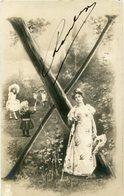 """X"" LETRA LETTRE LETTER MUJER NIÑOS WOMEN CHILDREN FEMMES ENFANTS. POSTAL POSTALE CPA CIRCULE 1904 -LILHU - Nombres"
