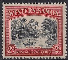 Western Samoa 1935 KGV 2d River Scene Black & Orange Umm SG 182 ( T594 ) - Samoa