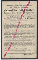 En 1950 Bailleul Et Saint Jans Cappel (59) Victor LAMERAND Ep Louise CROQUETTE Ancien Combattant  Guerre 1914-1918 - Décès