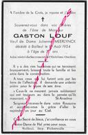 En 1954 Bailleul (59) Gaston LOUF Ep Julienne MEERLYNCK 77 Ans - Décès