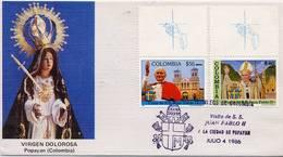 Lote 1704-5Fpuu, Colombia, 1986, SPD - FDC, Papa Juan Pablo II, Pope John Paul II, Popayan, Uvas-uvas - Colombia