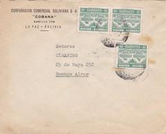 """1942 COVER BOLIVIA: CORPORACION COMERCIAL BOLIVIANA """"COBANA""""-CIRCULEE TO BUENOS AIRES STAMPS A PAIR - BLEUP - Bolivie"""