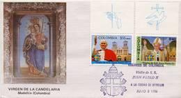 Lote 1704-5Fmup, Colombia, 1986, SPD - FDC, Papa Juan Pablo II, Pope John Paul II, Medellin, Uvas-paloma - Colombia