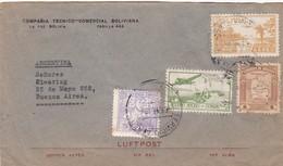 1940'S COVER BOLIVIA: COMPAÑIA TECNICO COMERCIAL BOLIVIANA-CIRCULEE TO BUENOS AIRES MIXED STAMPS- BLEUP - Bolivie