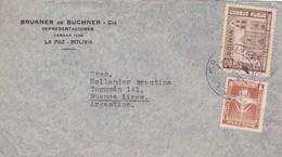 1942 COVER BOLIVIA: BRUKNER DE BUCHNER Y CIA-CIRCULEE TO BUENOS AIRES, BANDELETA PARLANTE, TIMBRE A PAIR- BLEUP - Bolivie