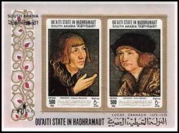 Aden - 1013 Qu'ati State In Hadhramaut - Bloc N° 18A (18 A) Gold Lucas Cranach The Eder Tableau (painting) Cote 20 Euros - Ver. Arab. Emirate