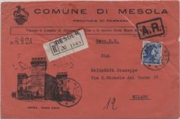 Tematica Comuni D'Italia: Michelangiolesca £. 115 Su Busta Comune Di Mesola (Ferrara) Del 09.06.1965 - 6. 1946-.. Repubblica