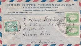 1948 COVER BOLIVIA: GRAN HOTEL COCHABAMBA-CIRCULEE TO BUENOS AIRES, BANDELETA PARLANTE, TIMBRE A PAIR- BLEUP - Bolivie