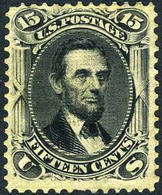 US #98 MINT Original Gum, Hinged  15c  SUPERB CENTERING   Lincoln Of 1867 W/F Grill 9x13mm - Unused Stamps