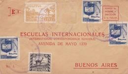 1940 COVER BOLIVIA: ESCUELAS INTERNACIONALES-CIRCULEE TO BUENOS AIRES, MIXED STAMPS- BLEUP - Bolivie
