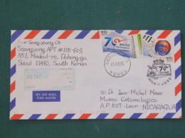 South Korea 2015 Cover To Nicaragua - Great Journey Of Stepping Forward (flag Shape Stamps) - Flower Cancel - Corée Du Sud