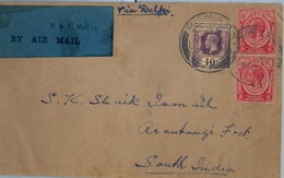 1931 , STRAITS SETTLEMENTS , PENANG - ARANTANGI FORT ( SOUTH INDIA ) , TRÁNSITO SINGAPUR , LLEGADA , CIRCULADO VIA DELHI - Singapur (...-1959)