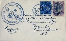 1933 TONGA , VAVAU - AUCKLAND , TIN CAN MAIL - CORREO EN CANOA , NIUAFOOU ISLAND / DESPATCHED BY CANOE MAIL - Tonga (...-1970)