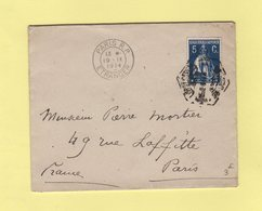 Flier - Paris RP Etranger - Bloc Dateur En Arrivee Sur Lettre Du Portugal - 1914 - Marcophilie (Lettres)