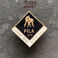 Badge Pin ZN008623 - Wrestling FILA European Championships Soviet Union USSR CCCP Russia Leningrad Sankt-Peterburg 1976 - Worstelen