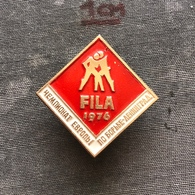Badge Pin ZN008624 - Wrestling FILA European Championships Soviet Union USSR CCCP Russia Leningrad Sankt-Peterburg 1976 - Wrestling