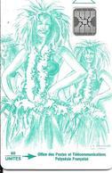 CARTE-PUCE-POLYNESIE-PF8 -SC4-60U-VAHINE VERTE-V° -5 Pe 36212-UTILISE-TBE- - Polynésie Française