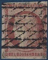 France Céres N°6a 1fr Carmin Obl Grille Sans Fin 2e Choix Signé Calves - 1849-1850 Cérès