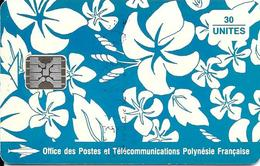 CARTE-PUCE-POLYNESIE-PF17a-30U-SC5-S/Entourage-PAREO BLEU Brillant-9 N°TGE-N°C41100725-UTILISETBE- - Polynésie Française