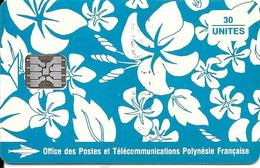CARTE-PUCE-POLYNESIE-PF17a-30U-SC5-S/Entourage-PAREO BLEU Brillant-9 N°TGE-N°C41100723-UTILISETBE- - Polynésie Française