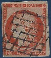France Céres N°5b 40c Oange Fonçé Obl Grille (2e Choix) - 1849-1850 Cérès