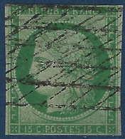 France Céres N°2 15c Vert Obl Grille Sans Fin (2e Choix) - 1849-1850 Cérès