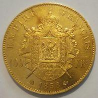 PIÈCE DE 100 F EN OR NAPOLEON Lll 1858A - O. 100 Francs