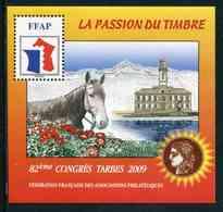 """FEUILLET-SOUVENIR** De 2009 De La FFAP """"82ème CONGRES TARBES - LA PASSION DU TIMBRE - Cheval"""" - FFAP"""