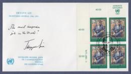 UNO Wien-UN Vienna FDC 1987 - MiNr. 68 - 4er Block - Trygve Lie - FDC