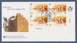 UNO Wien-UN Vienna FDC 1987 - MiNr. 69 - 4er Block - Internationales Jahr Für Menschenwürdiges Wohnen - FDC