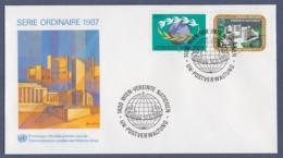 UNO Wien-UN Vienna FDC 1987 - MiNr. 73-74 - UNO-City Im Donaupark U. Weltkugel - FDC