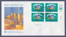 UNO Wien-UN Vienna FDC 1987 - MiNr. 74 - 4er Block - Weltkugel - FDC