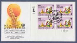 UNO Wien-UN Vienna FDC 1988 - MiNr. 80 - 4er Block - Für Eine Welt Ohne Hunger - FDC