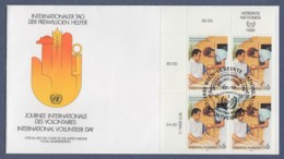 UNO Wien-UN Vienna FDC 1988 - MiNr. 83 - 4er Block - Internationaler Tag Des Entwicklungshelfers - FDC