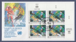 UNO Wien-UN Vienna FDC 1988 - MiNr. 86 - 4er Block - Gesundheit Durch Sport - FDC