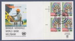 UNO Wien-UN Vienna FDC 1989 - MiNr. 90 - 4er Block - Weltbank - FDC