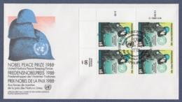 UNO Wien-UN Vienna FDC 1989 - MiNr. 91 - 4er Block - Friedensnobelpreises Für Die UNO-Friedenstruppen - FDC
