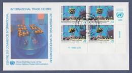 UNO Wien-UN Vienna FDC 1990 - MiNr. 98 - 4er Block - Internationales Handelszentrum - FDC