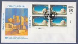 UNO Wien-UN Vienna FDC 1990 - MiNr. 99 - 4er Block - UNO-City Wien - Gemälde Von Kurt Regschek - FDC