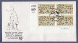UNO Wien-UN Vienna FDC 1991 - MiNr. 117 - 4er Block - Konvention Der Vereinten Nationen über Die Rechte Des Kindes - FDC