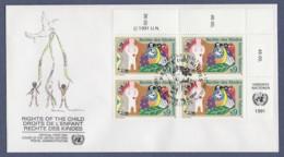 UNO Wien-UN Vienna FDC 1991 - MiNr. 118 - 4er Block - Konvention Der Vereinten Nationen über Die Rechte Des Kindes - FDC