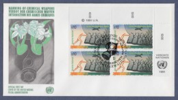 UNO Wien-UN Vienna FDC 1991 - MiNr. 120 - 4er Block - Verbot Von Chemischen Waffen - FDC
